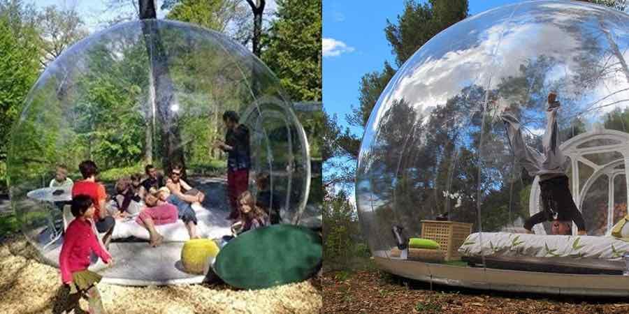 tienda de campaña burbuja, burbujas hotel, hotel burbujas