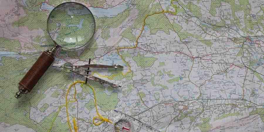Mapa para estudiar la ruta de trekking