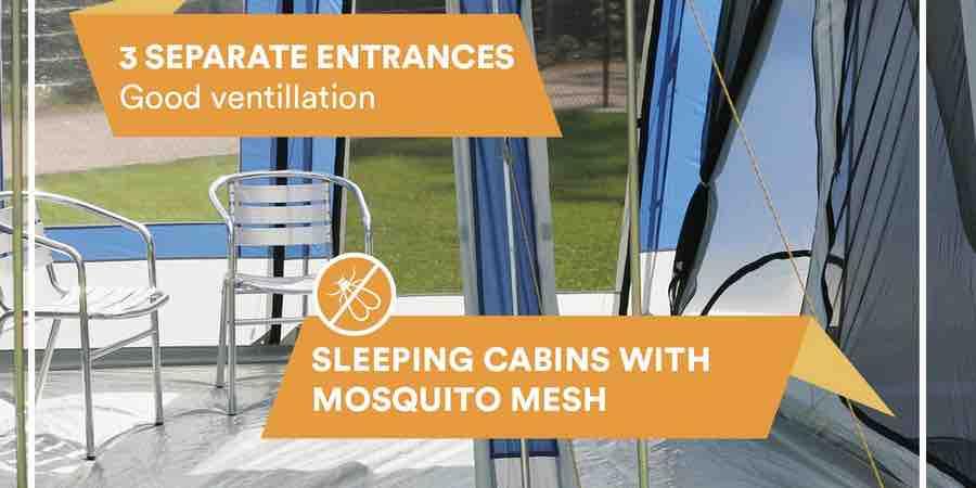 Skandika Montana 9 tienda ventilada y con mosquiteras en las entradas y habitaciones